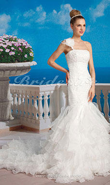 Mermaid/ Trumpet Organza Hof-Schleppe One Shouler Gestupft Brautkleid