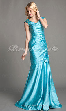 Trumpet/ Mermaid Satin bodenlang V-Ausschnitt Brautjungfernkleid