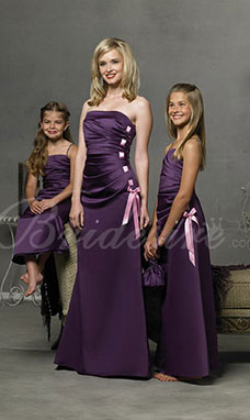 A-Linie Spaghetti bodenlang Satin Junior Brautjungfernkleid