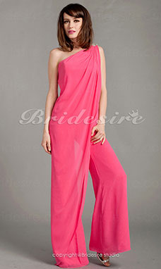 Chiffon bodenlang 1-Schulter Pantsuit