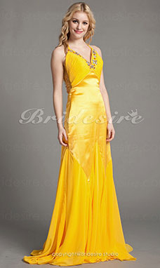Meerjungfrau-Linie / Mermaid-Stil Chiffon and Satin Sweep/Pinsel Zug V-Ausschnitt Abendkleid
