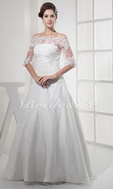 ... Carmen-Ausschnitt bodenlang Halbe Ärmel Organza Spitzen Brautkleid