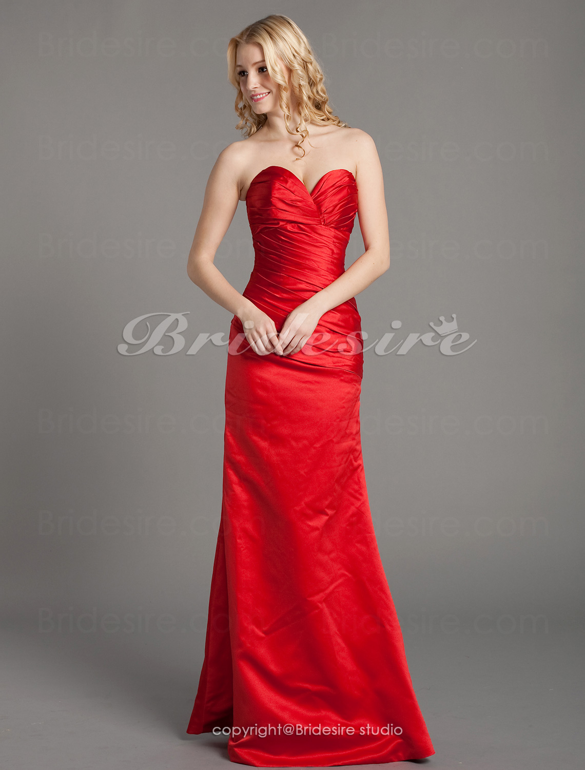 Trumpet/ Mermaid Satin Floor-length Sweetheart Bridesmaid Dress