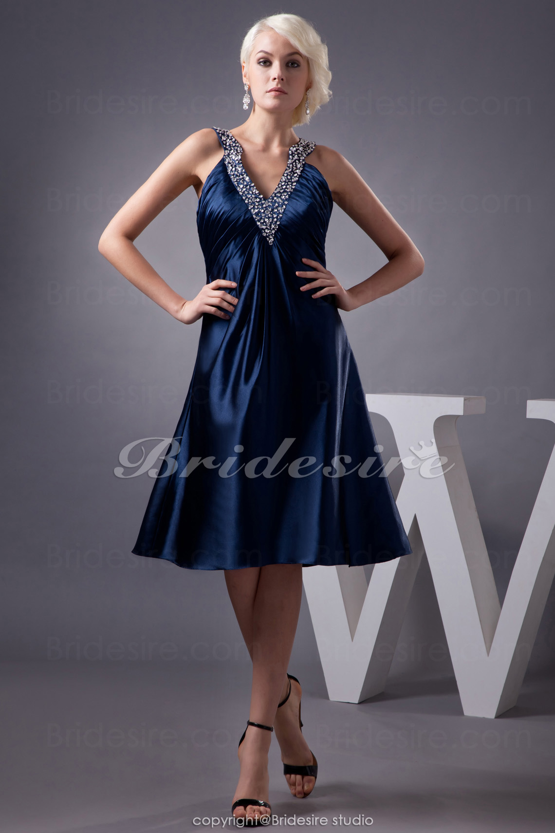 A-line Halter Knee-length Sleeveless Stretch Satin Dress