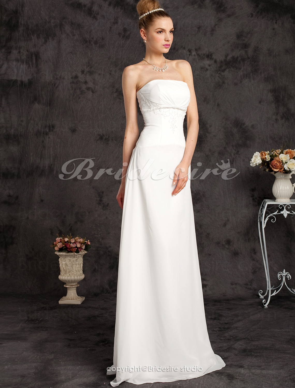 Sheath/ Column Chiffon Floor-length Wedding Dress With Beaded Ap