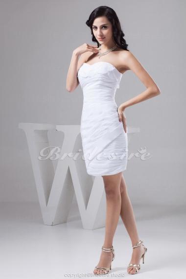 14b222a6243 Bridesire - Etui-Linie Herz-Ausschnitt Kurz Mini ärmellos Taft Kleid ...