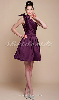 A-Linie Satin Knielang 1-Schulter Cocktailkleid
