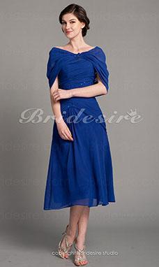 Etui-Linie Chiffon Wadenlang Herz-Ausschnitt Kleid mit Bolerojäckchen d7d1c69572