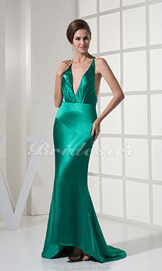 Meerjungfrau-Linie / Mermaid-Stil V-Ausschnitt Sweep/Pinsel Zug ärmellos Stretch-Satin Kleid