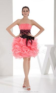 bef650e72998b7 Duchesse-Linie trägerloser Ausschnitt Knielang ärmellos Organza Kleid