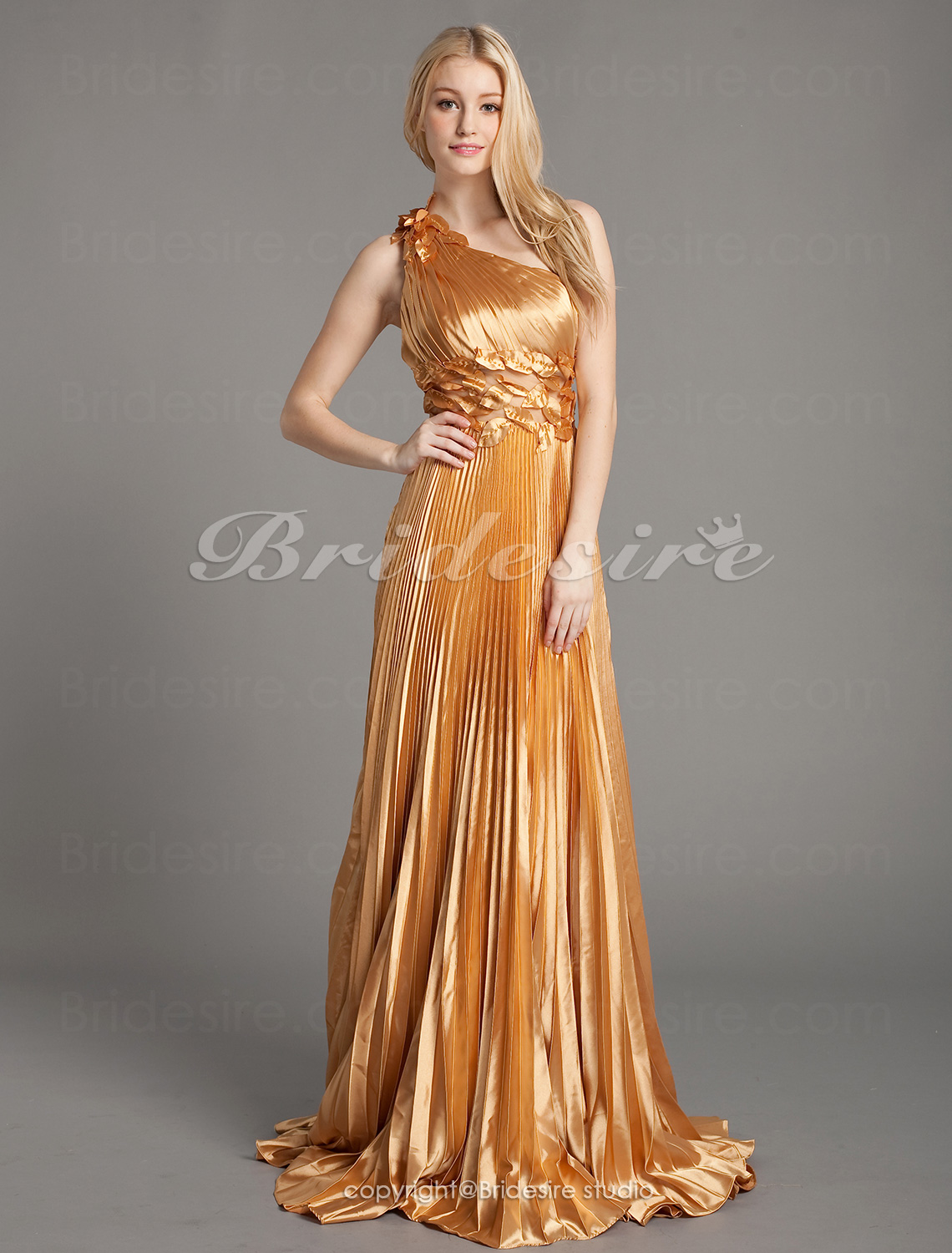 A-Linie Stretch-Satin 1-Schulter Sweep/Pinsel Zug Empire Abendkleid