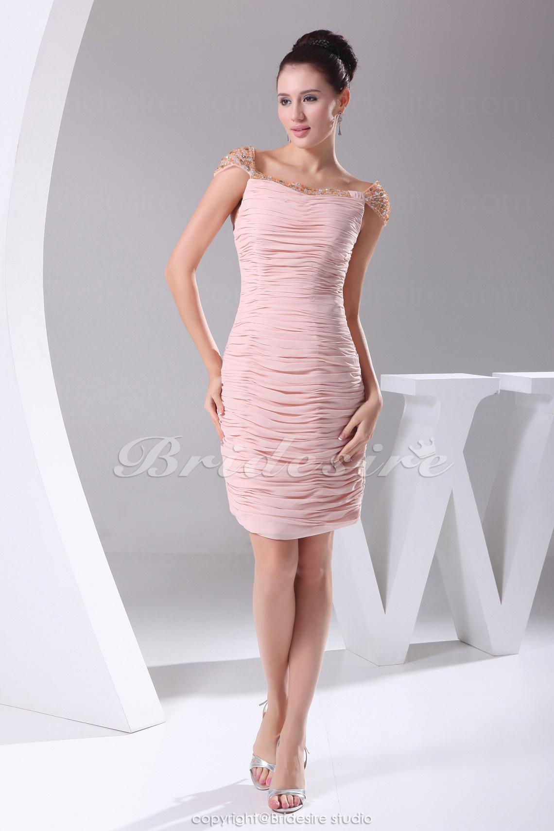 6d02dd6049e4 Etui-Linie Carré-Ausschnitt Kurz/Mini Kurze Ärmel Chiffon Kleid