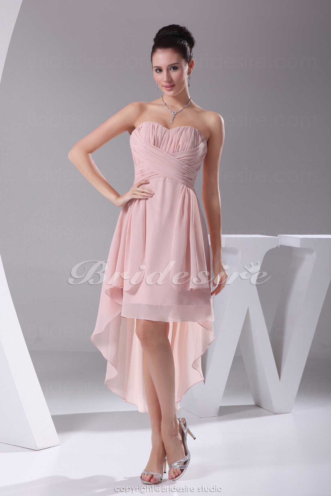 A-Linie Herz-Ausschnitt Asymmetrisch Knielang ärmellos Chiffon Festliche  Kleid