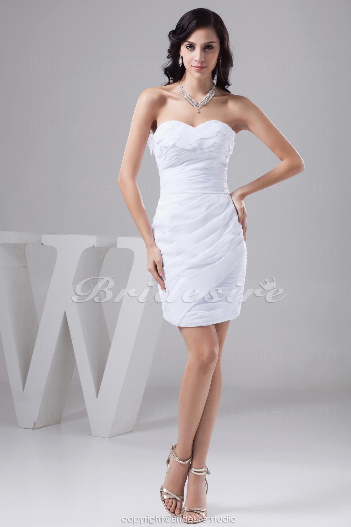 bc66e7bc89c Bridesire - Etui-Linie Herz-Ausschnitt Kurz Mini ärmellos Taft Kleid   BD41156  - €74.27   Bridesire