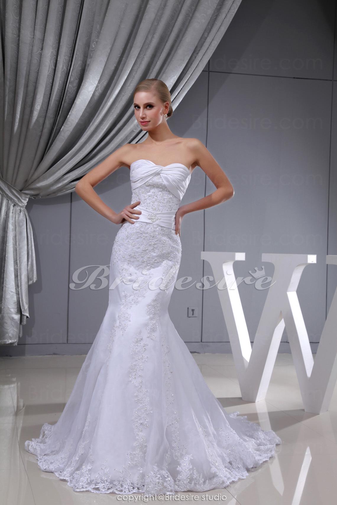 301f08d3e37aa3 Bridesire - Meerjungfrau-Linie / Mermaid-Stil trägerloser Ausschnitt Sweep/Pinsel  Zug ärmellos Spitzen Satin [BDH1344] - €179.19 : Bridesire