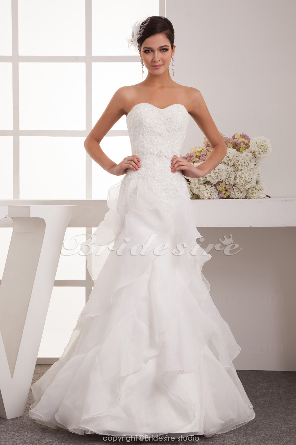 A-line Sweetheart Floor-length Sleeveless Satin Chiffon Wedding