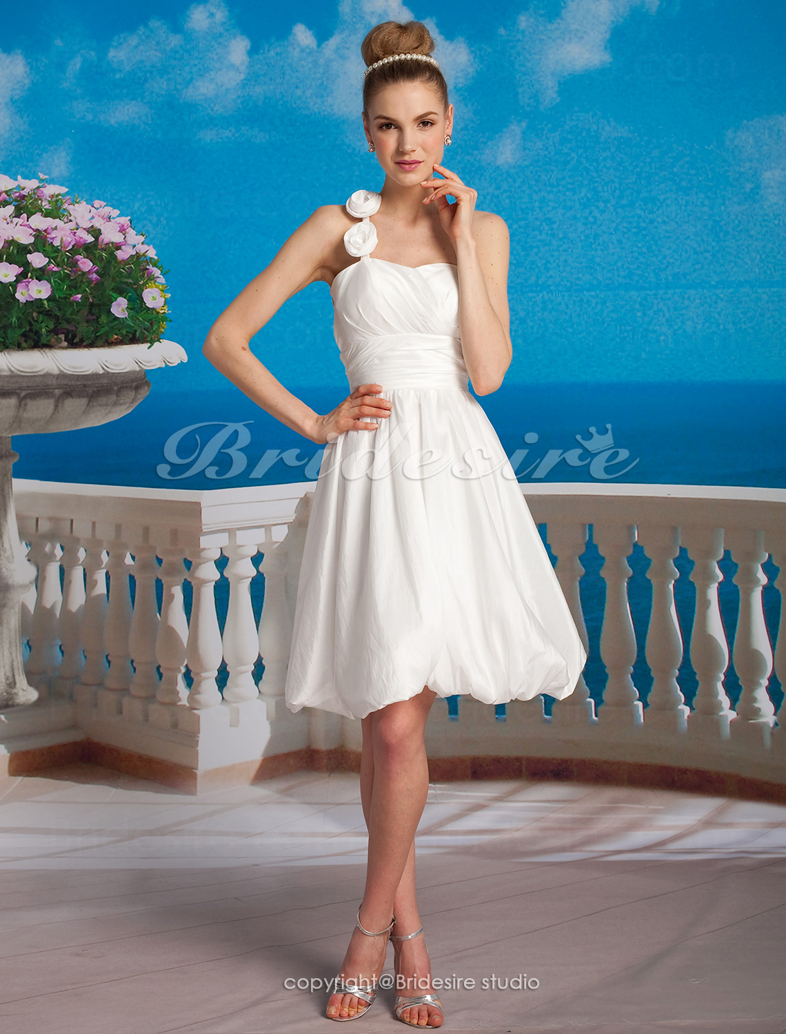 A-line Taffeta Short/ Mini One Shoulder Wedding Dress