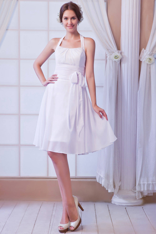 bridesire - etui-linie 1-schulter kurz/mini chiffon